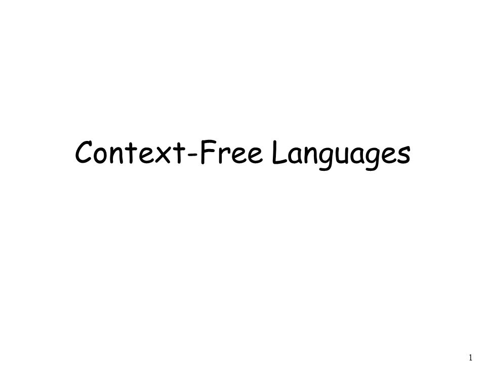 1 Context-Free Languages