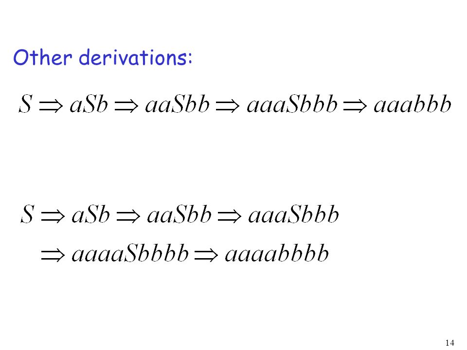 14 Other derivations: