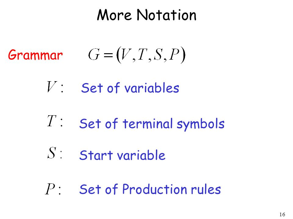 16 More Notation Grammar Set of variables Set of terminal symbols Start variable Set of Production rules