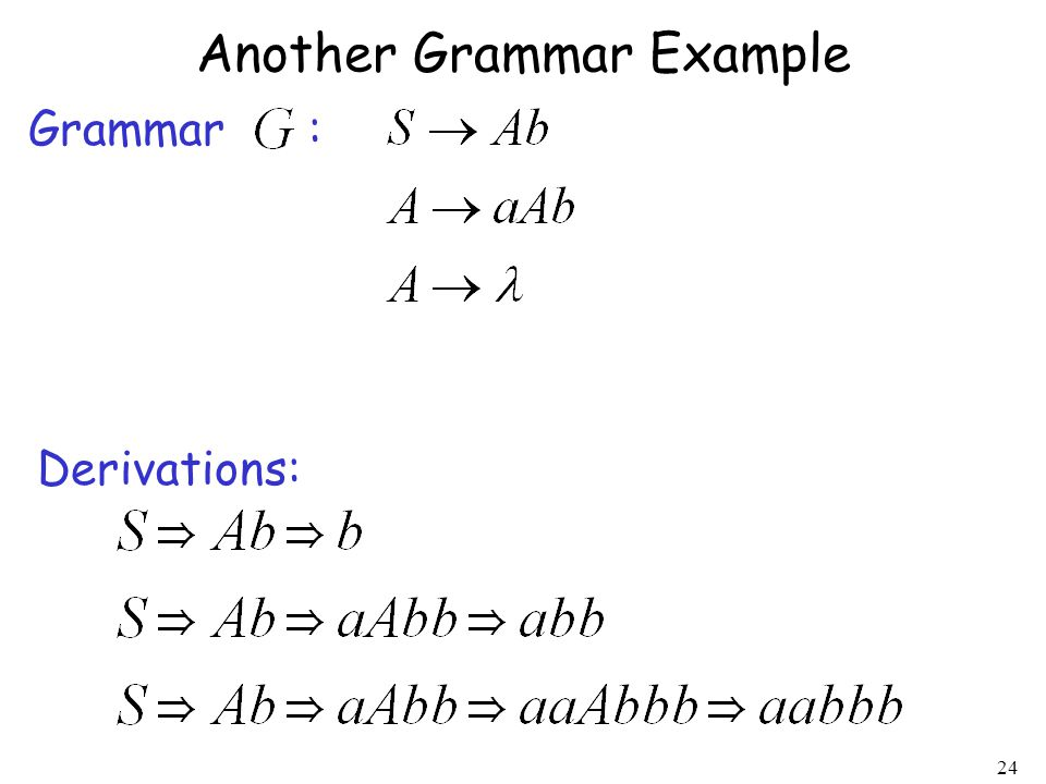 24 Another Grammar Example Grammar : Derivations:
