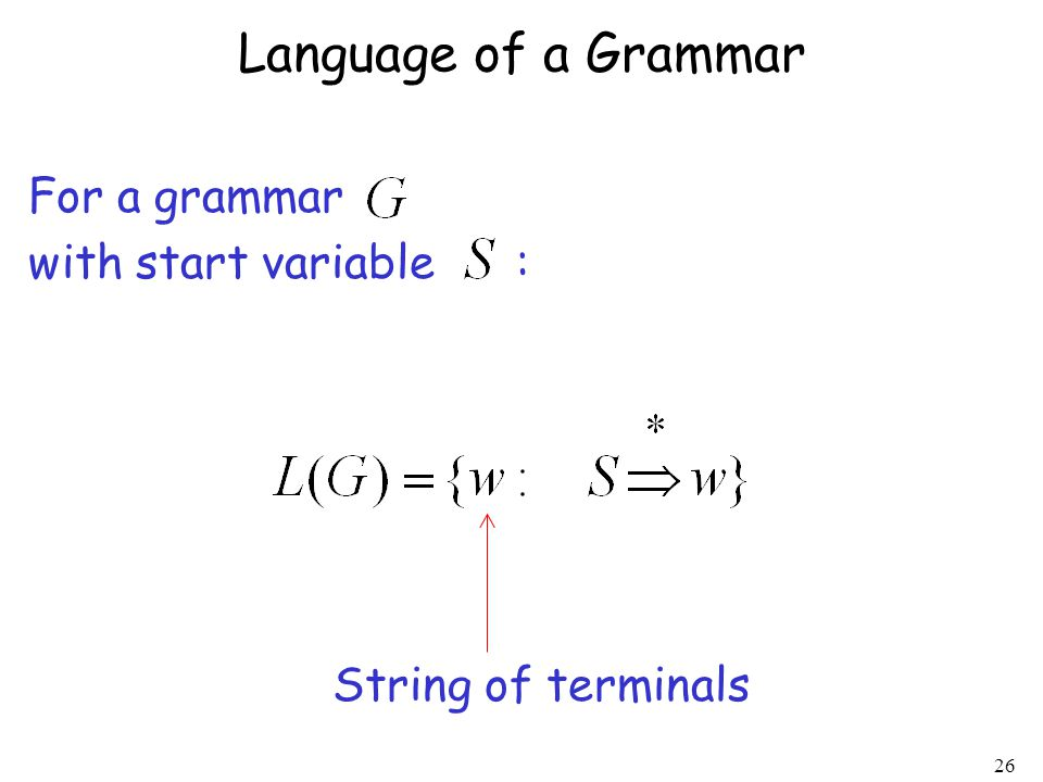 26 Language of a Grammar For a grammar with start variable : String of terminals