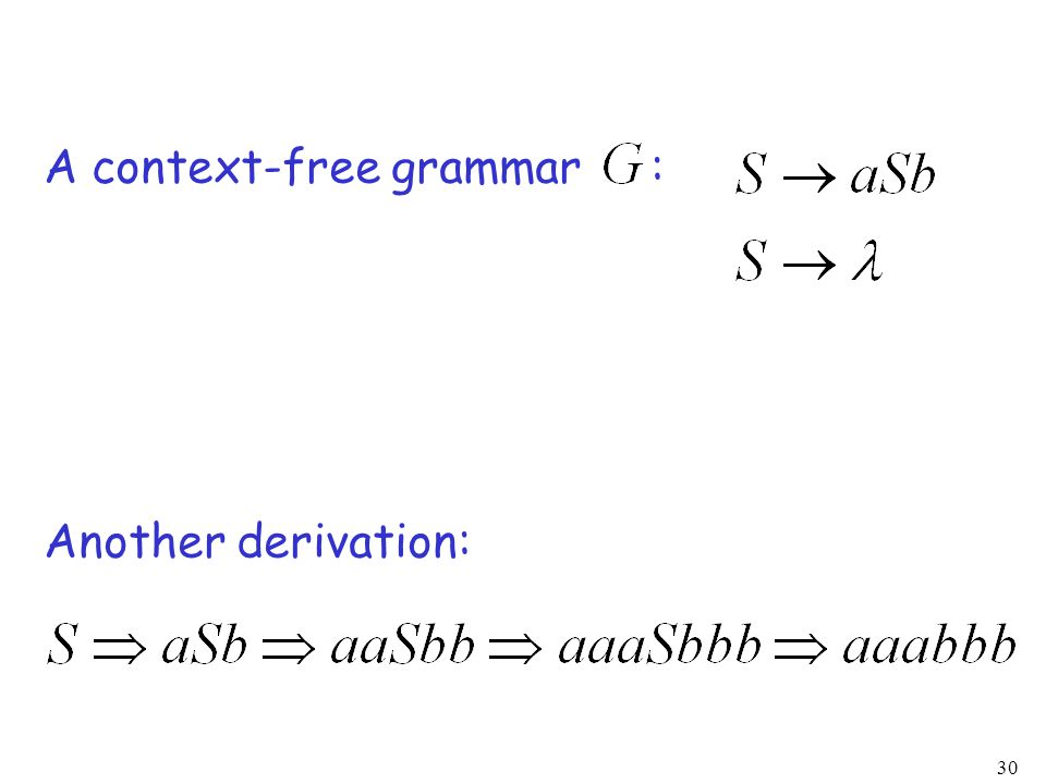 30 A context-free grammar : Another derivation:
