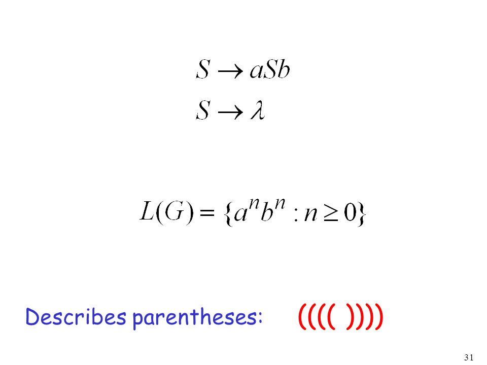 31 (((( )))) Describes parentheses: