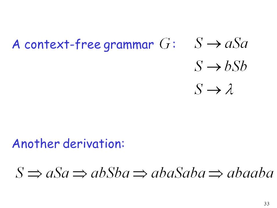 33 A context-free grammar : Another derivation: