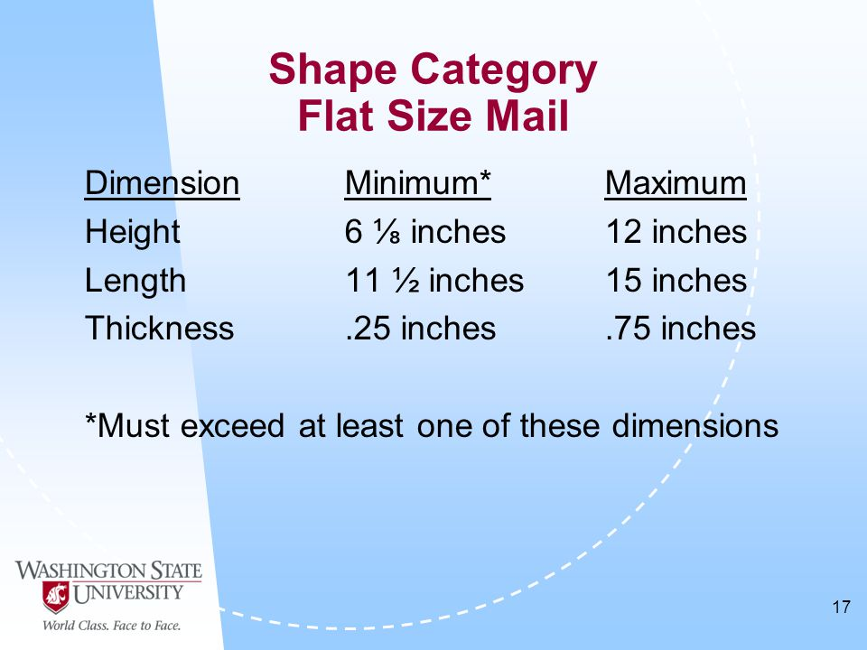 17 DimensionMinimum*Maximum Height6 ⅛ inches12 inches Length11 ½ inches15 inches Thickness.25 inches.75 inches *Must exceed at least one of these dimensions Shape Category Flat Size Mail