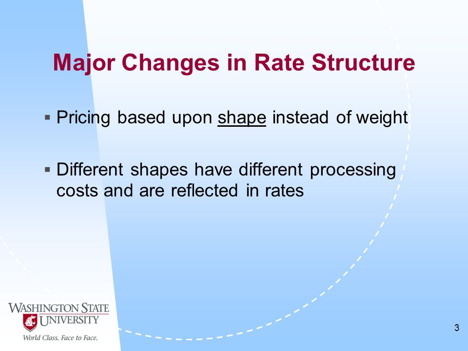 3  Pricing based upon shape instead of weight  Different shapes have different processing costs and are reflected in rates Major Changes in Rate Structure