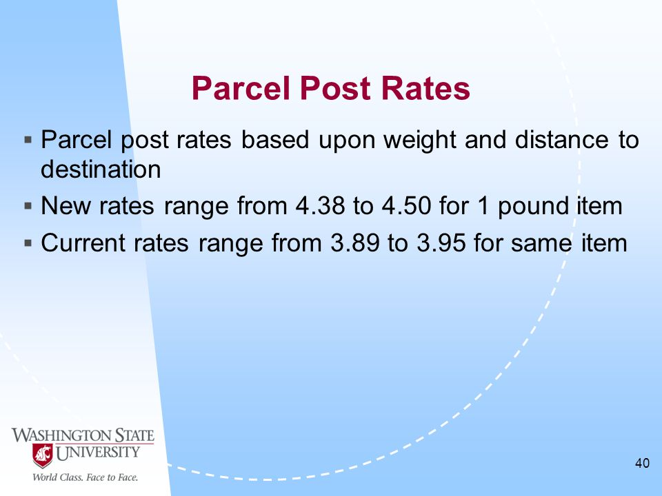 40  Parcel post rates based upon weight and distance to destination  New rates range from 4.38 to 4.50 for 1 pound item  Current rates range from 3.89 to 3.95 for same item Parcel Post Rates