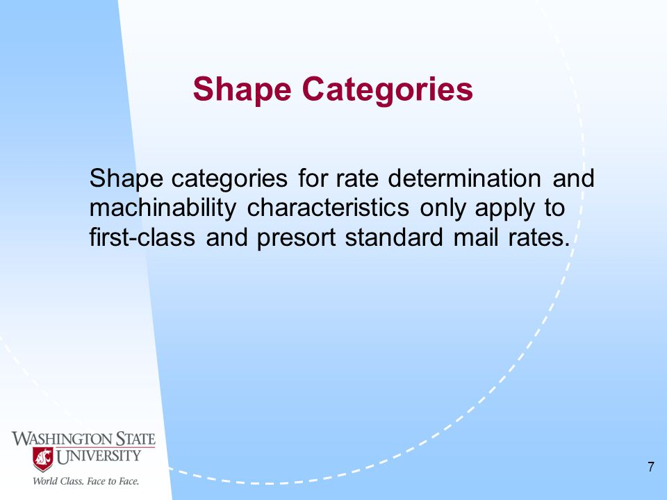 7 Shape categories for rate determination and machinability characteristics only apply to first-class and presort standard mail rates.