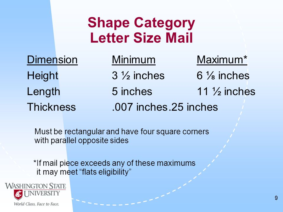 9 DimensionMinimumMaximum* Height3 ½ inches6 ⅛ inches Length5 inches11 ½ inches Thickness.007 inches.25 inches Must be rectangular and have four square corners with parallel opposite sides *If mail piece exceeds any of these maximums it may meet flats eligibility Shape Category Letter Size Mail