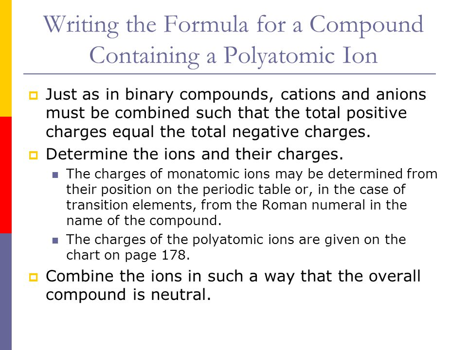 Writing the Formula for a Compound Containing a Polyatomic Ion  Just as in binary compounds, cations and anions must be combined such that the total positive charges equal the total negative charges.
