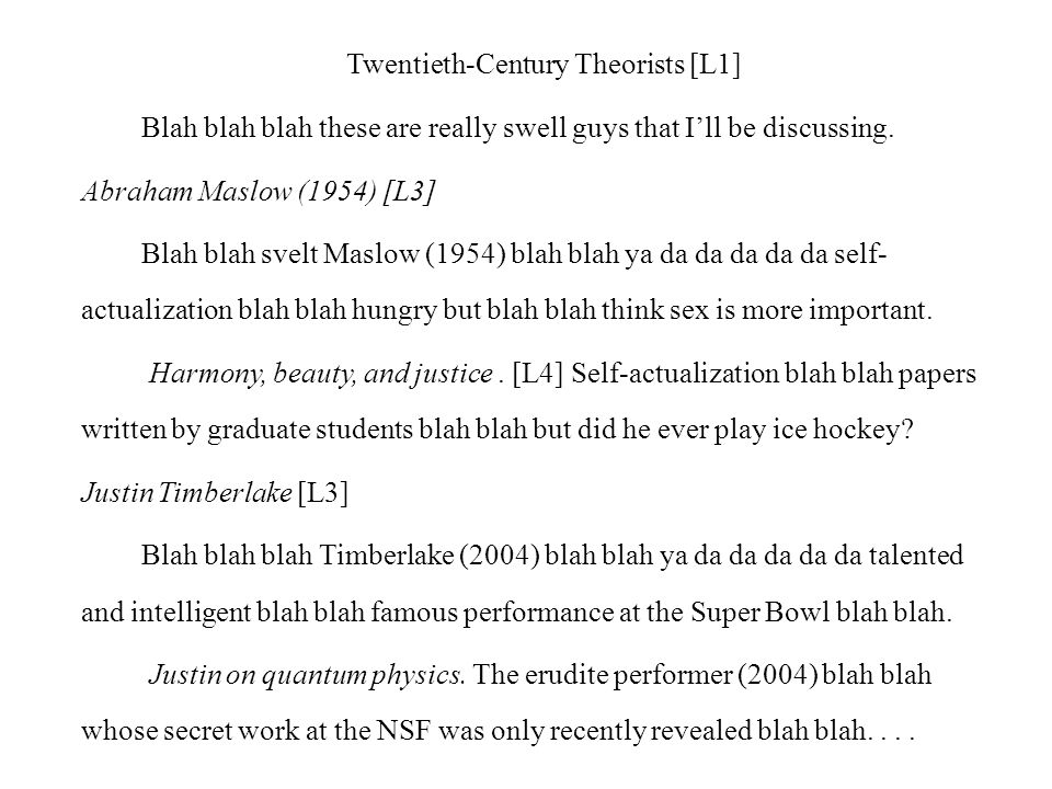 Table of Contents Twentieth-Century Theorists [L1]……………….14 Abraham Maslow [L3]………………………14 Harmony, beauty, and justice…...…….16 Justin Timberlake [L3]………………………18 Justin on quantum physics..……………25