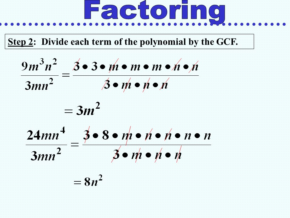 Step 3: Write the polynomial as the product of the GCF and the remaining factor of each term using the distributive property.