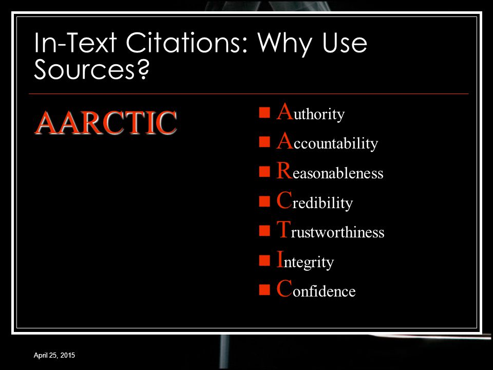 April 25, 2015 In-Text Citations: Why Use Sources.