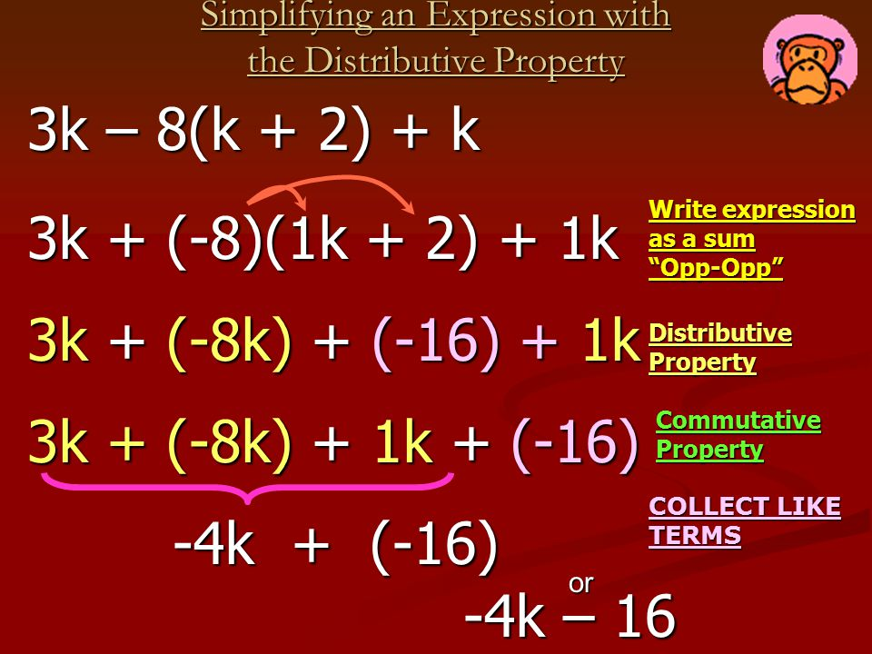 Simplifying an Expression with the Distributive Property Write expression as a sum Opp-Opp COLLECT LIKE TERMS 3k – 8(k + 2) + k 3k – 8(k + 2) + k -4k + (-16) -4k + (-16) 3k + (-8)(1k + 2) + 1k 3k + (-8)(1k + 2) + 1k 3k + (-8k) + (-16) + 1k 3k + (-8k) + (-16) + 1k Distributive Property -4k – 16 -4k – 16 or Commutative Property 3k + (-8k) + 1k + (-16) 3k + (-8k) + 1k + (-16)