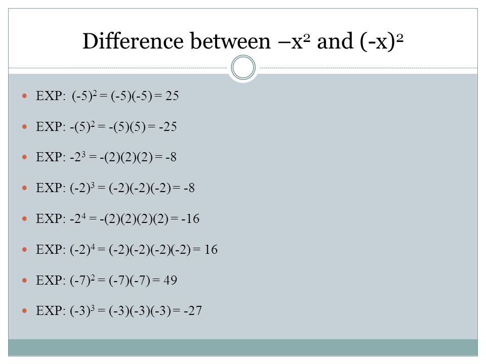 EXP: (-5) 2 = (-5)(-5) = 25 EXP:-(5) 2 = -(5)(5) = -25 EXP:-2 3 = -(2)(2)(2) = -8 EXP:(-2) 3 = (-2)(-2)(-2) = -8 EXP:-2 4 = -(2)(2)(2)(2) = -16 EXP:(-