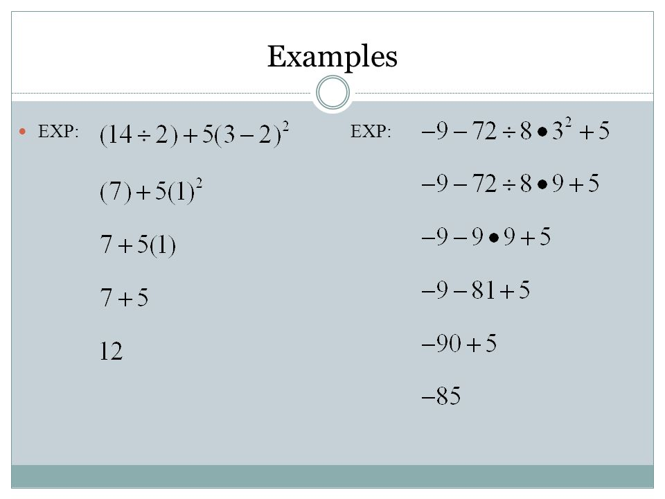 EXP:EXP: Examples