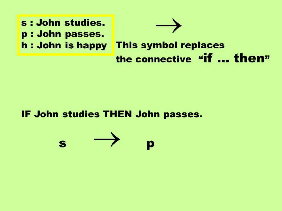 s : John studies. p : John passes.