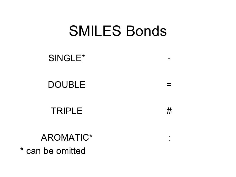 SMILES Bonds SINGLE* DOUBLE TRIPLE AROMATIC* * can be omitted -=#:-=#: