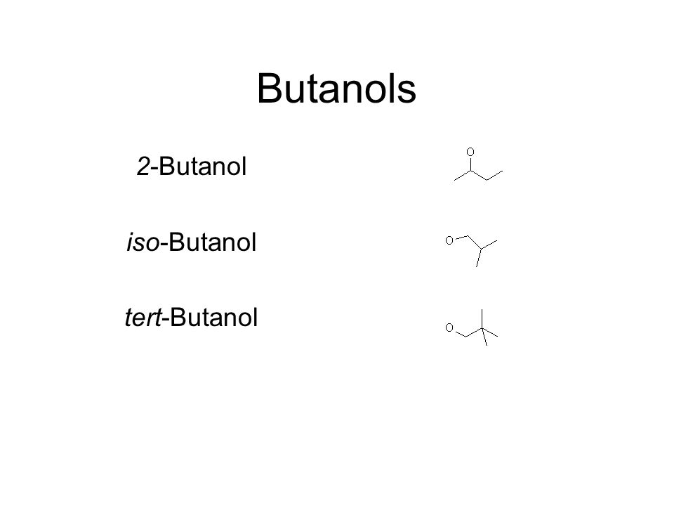 SMILES Branches Represented by enclosure in parentheses Can be nested or stacked Examples: CC(O)CC is 2-Butanol OCC(C)C is iso-Butanol OC(C)(C)C is tert-Butanol
