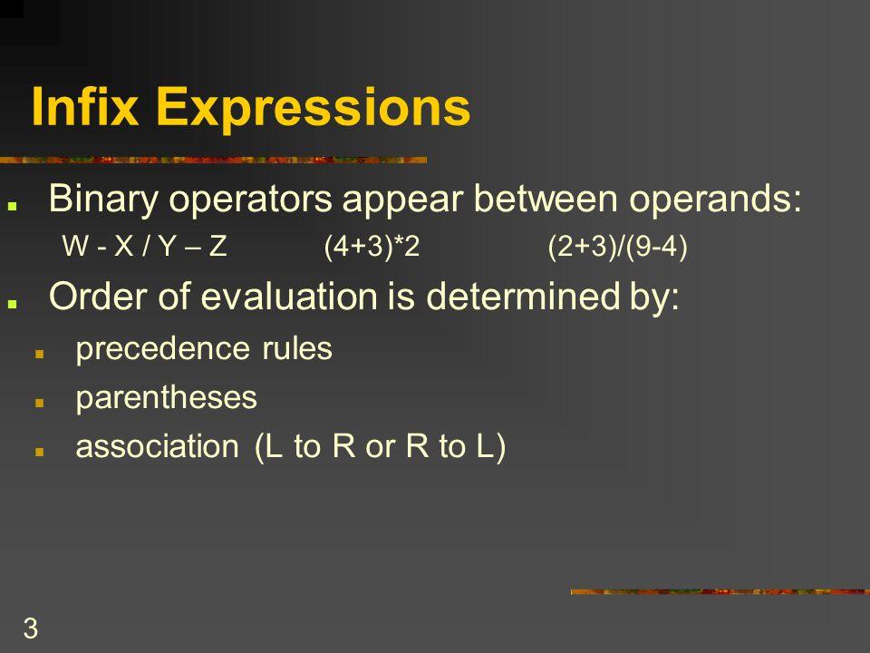 4 Application: Algebraic Expressions Infix Expression Evaluation To evaluate an infix expression Convert the infix expression into postfix Evaluate the postfix expression using stacks