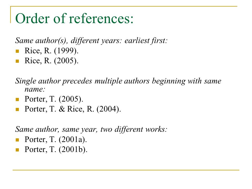 Order of references: Same author(s), different years: earliest first: Rice, R.