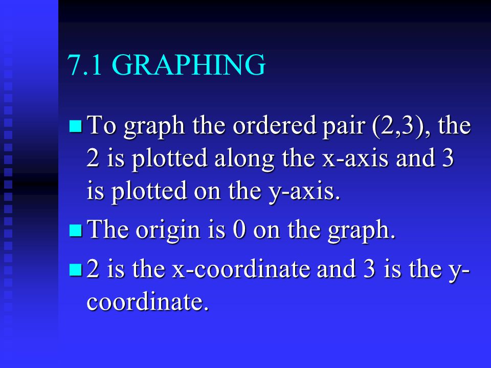 7.1 GRAPHING To graph the ordered pair (2,3), the 2 is plotted along the x-axis and 3 is plotted on the y-axis.