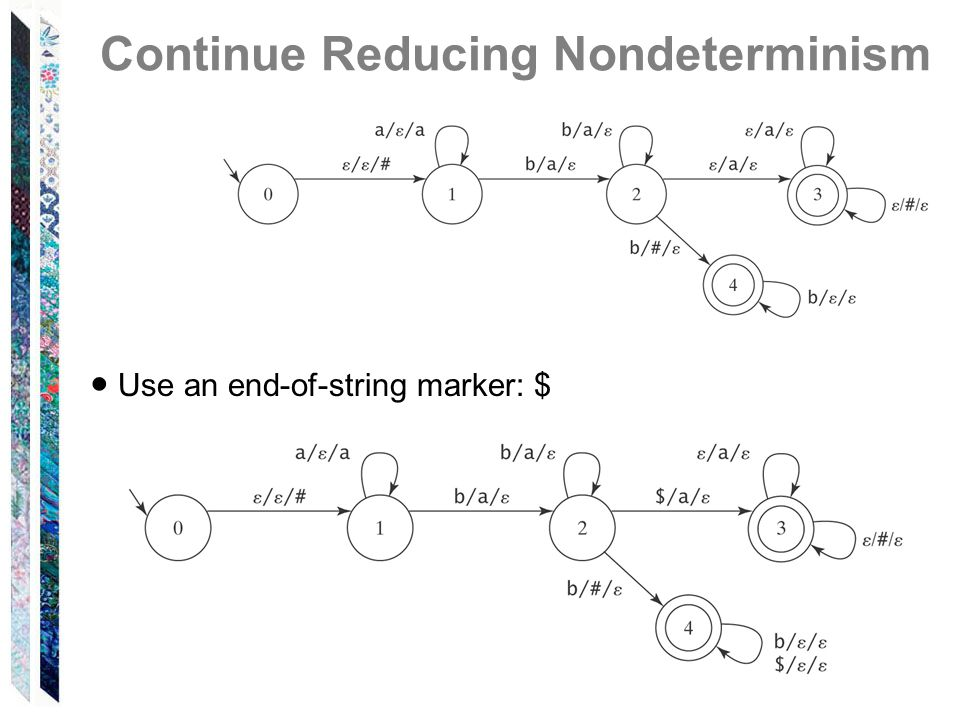 Continue Reducing Nondeterminism ● Use an end-of-string marker: $