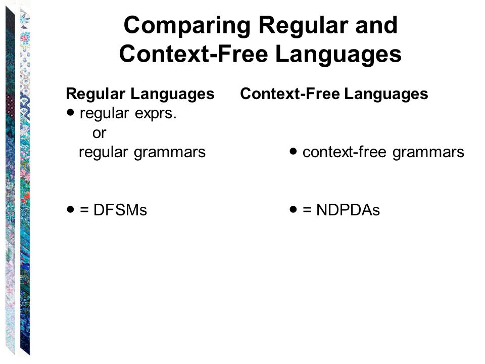 Comparing Regular and Context-Free Languages Regular Languages Context-Free Languages ● regular exprs.