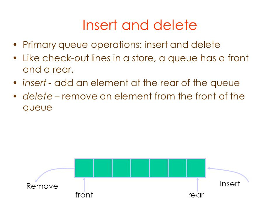 Insert and delete Primary queue operations: insert and delete Like check-out lines in a store, a queue has a front and a rear.