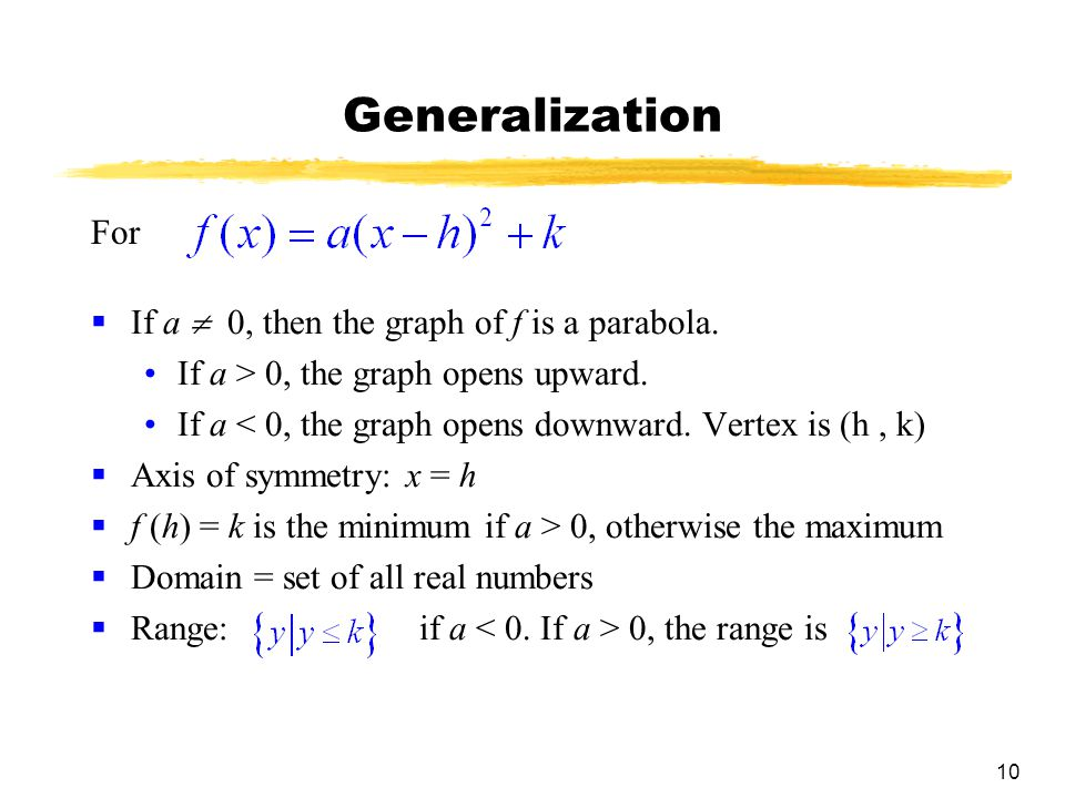 10 Generalization  If a  0, then the graph of f is a parabola.