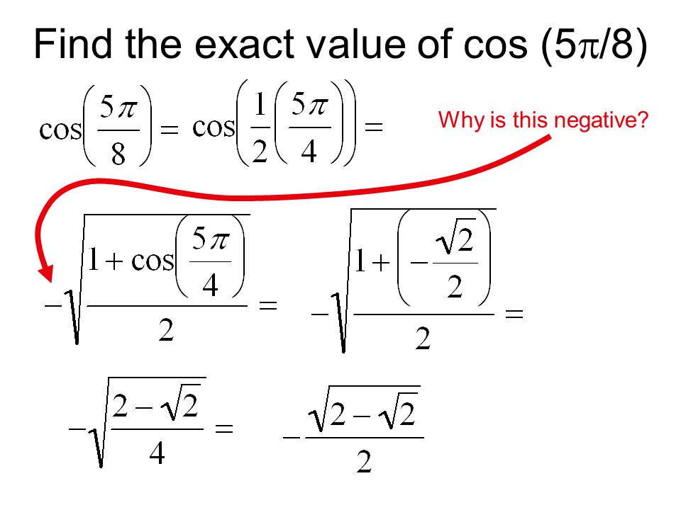 Find the exact value of cos (5  /8) Why is this negative?