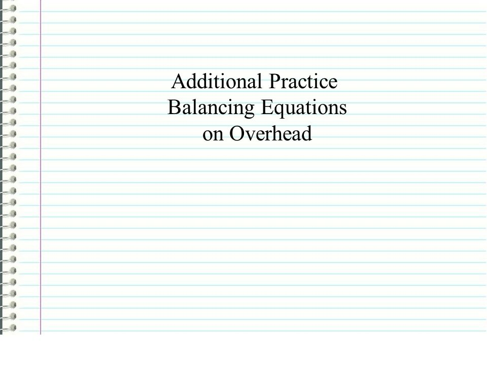 Additional Practice Balancing Equations on Overhead