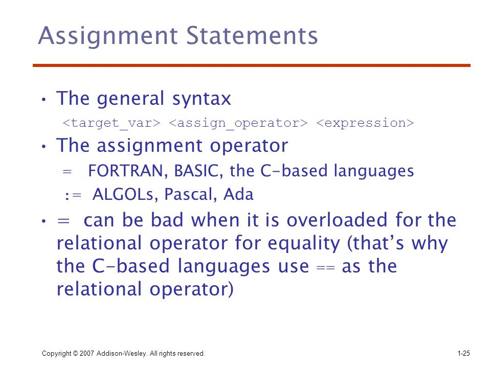 Copyright © 2007 Addison-Wesley. All rights reserved.1-25 Assignment Statements The general syntax The assignment operator = FORTRAN, BASIC, the C-bas