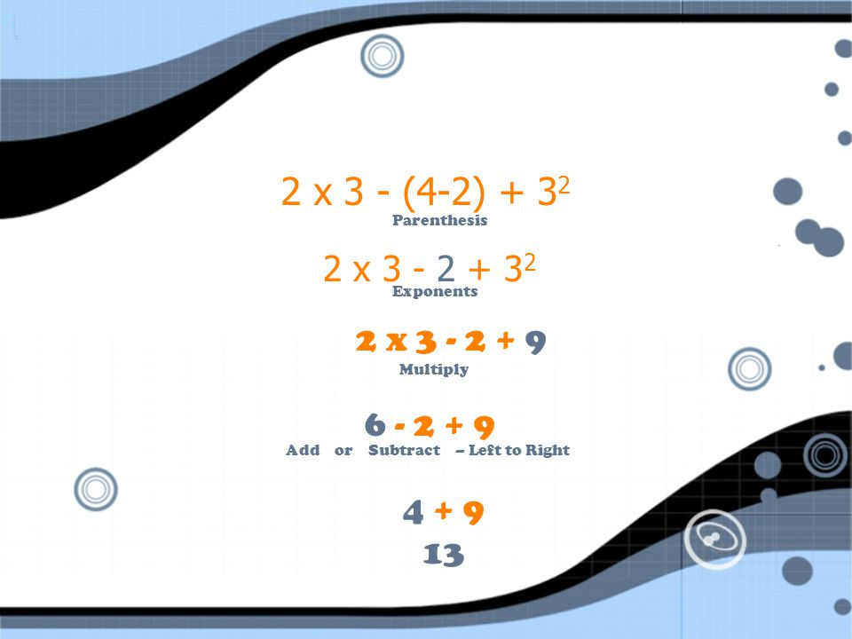 Example 1: 2 x 3 - (4-2) + 3 2 Multiplication Parenthesis Subtraction Addition Exponents