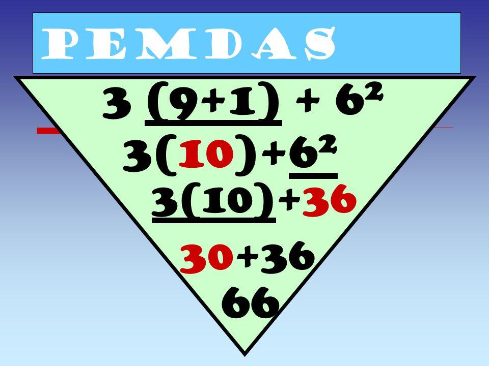 PEMDAS 3+2 3 - (9+1) 3+2 3 - 10 3+8-10 11-10 1