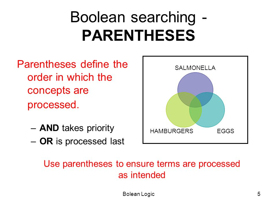 Bolean Logic5 Boolean searching - PARENTHESES Parentheses define the order in which the concepts are processed. –AND takes priority –OR is processed l