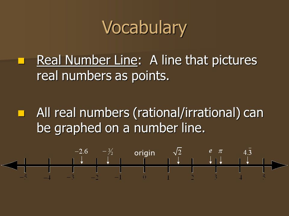 Vocabulary Real Number Line: A line that pictures real numbers as points. Real Number Line: A line that pictures real numbers as points. All real numb