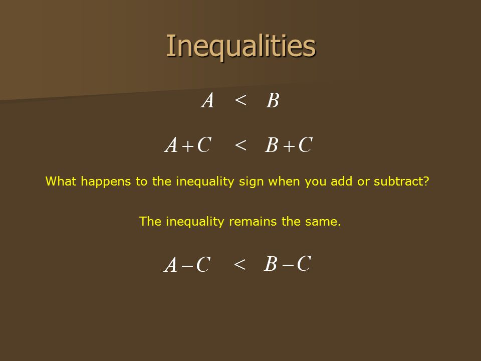 Inequalities What happens to the inequality sign when you add or subtract.