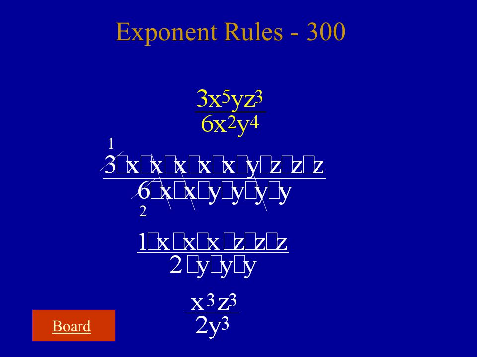 Board Exponent Rules - 300 1 2