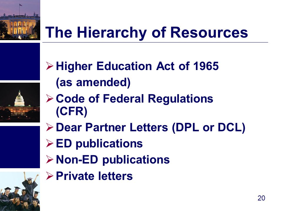  Higher Education Act of 1965 (as amended)  Code of Federal Regulations (CFR)  Dear Partner Letters (DPL or DCL)  ED publications  Non-ED publications  Private letters The Hierarchy of Resources 20