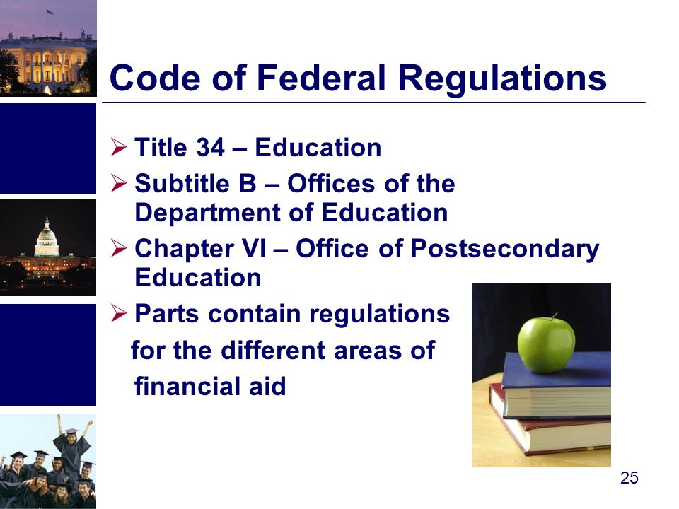  Title 34 – Education  Subtitle B – Offices of the Department of Education  Chapter VI – Office of Postsecondary Education  Parts contain regulations for the different areas of financial aid Code of Federal Regulations 25
