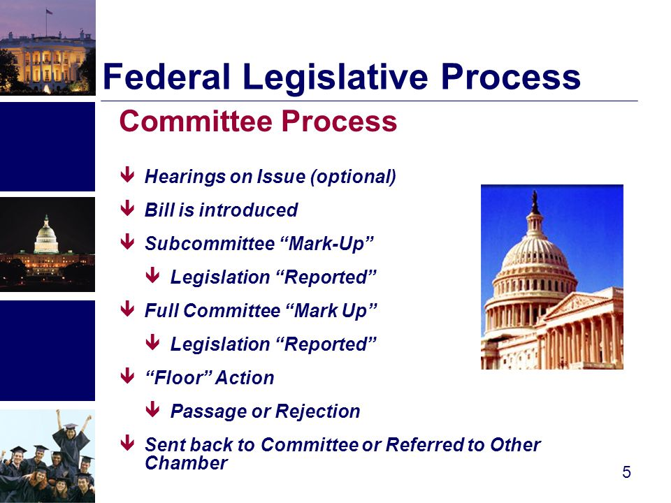 FEDERAL LEGISLATIVE PROCESS (Final Action )  Conference Committee −Attempts to resolve differences between House and Senate-passed bills −Result is a Conference Report -- includes explanatory language and recommendations  Final Vote −Identical Conference Report must be approved by House and Senate before it can be sent to the President  President Signs or Vetoes 6