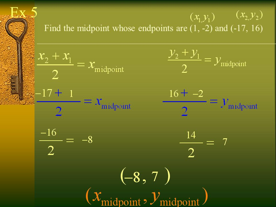 Ex 5 Find the midpoint whose endpoints are (1, -2) and (-17, 16)