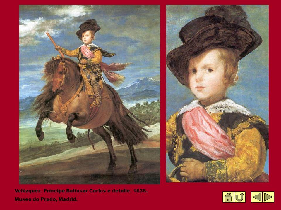 Velázquez. Príncipe Baltasar Carlos e detalle. 1635. Museo do Prado, Madrid.