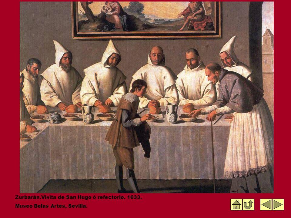 Zurbarán.Visita de San Hugo ó refectorio. 1633. Museo Belas Artes, Sevilla.