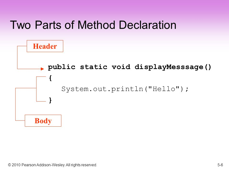 © 2010 Pearson Addison-Wesley. All rights reserved. 5-6 Two Parts of Method Declaration public static void displayMesssage() { System.out.println(