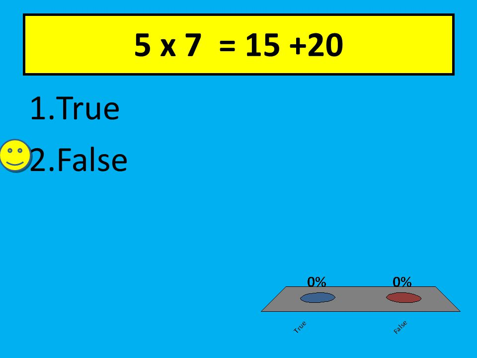 5 x 7 = 15 +20 1.True 2.False