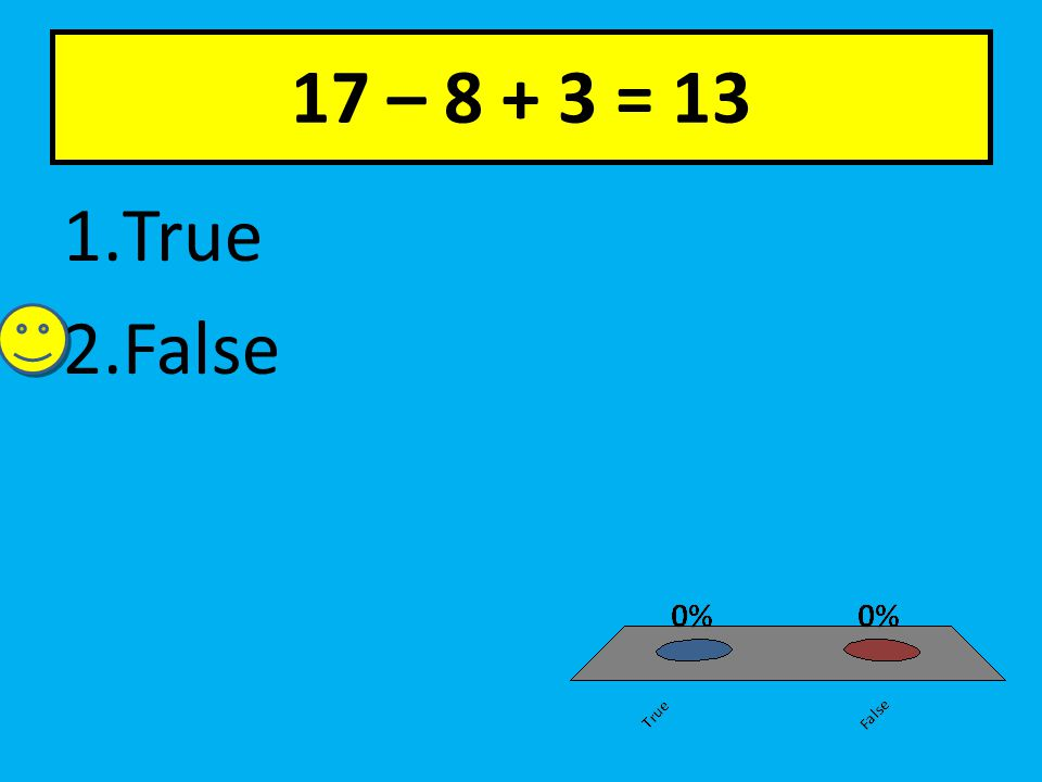17 – 8 + 3 = 13 1.True 2.False