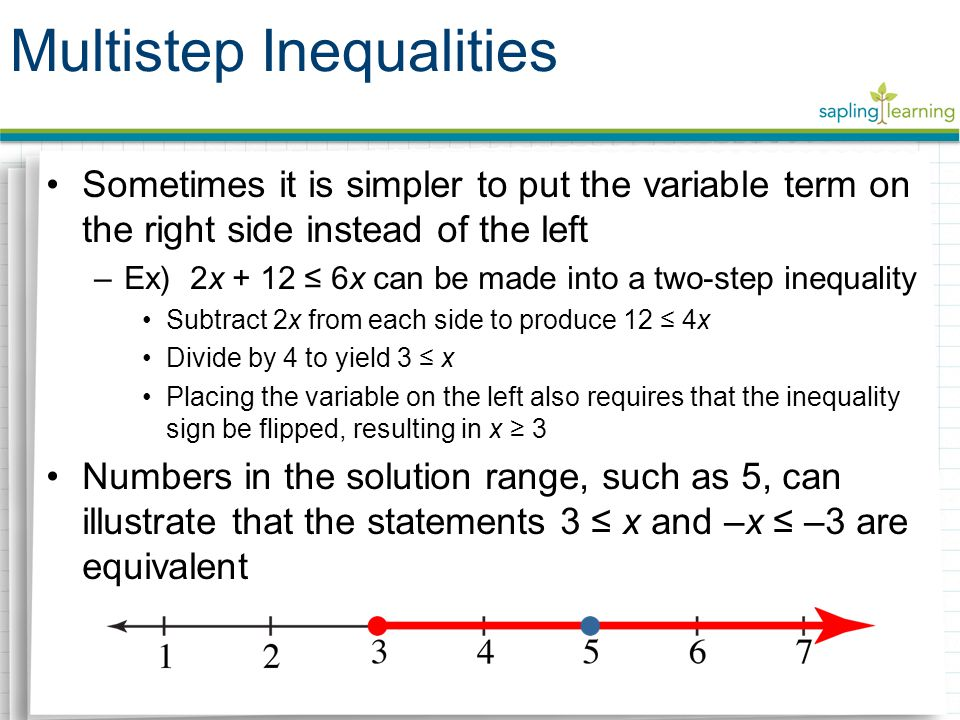 Sometimes it is simpler to put the variable term on the right side instead of the left –Ex) 2x + 12 ≤ 6x can be made into a two-step inequality Subtract 2x from each side to produce 12 ≤ 4x Divide by 4 to yield 3 ≤ x Placing the variable on the left also requires that the inequality sign be flipped, resulting in x ≥ 3 Numbers in the solution range, such as 5, can illustrate that the statements 3 ≤ x and –x ≤ –3 are equivalent Multistep Inequalities