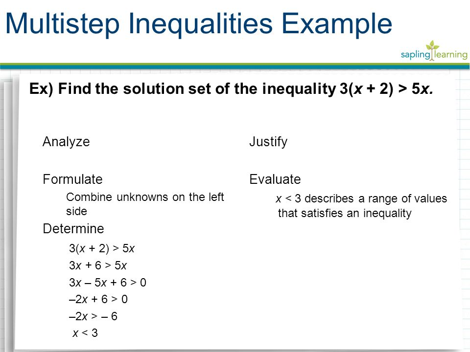 Multistep Inequalities Example Ex) Find the solution set of the inequality 3(x + 2) > 5x.